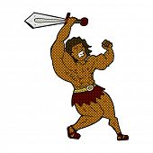 retro comic book style cartoon barbarian hero