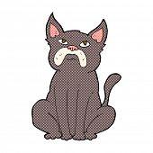 retro comic book style cartoon grumpy little dog
