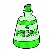 retro comic book style cartoon bottle of poison