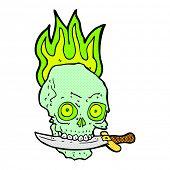 retro comic book style cartoon pirate skull with knife in teeth