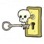 retro comic book style cartoon spooky door knob