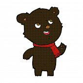 retro comic book style cartoon black bear with scarf