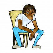 retro comic book style cartoon dejected man