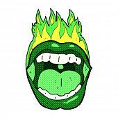 retro comic book style cartoon halloween mouth