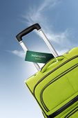 Indianapolis, Indiana. Green Suitcase With Label