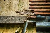 / Old brick,  zinc and Old Wooden on the wall background