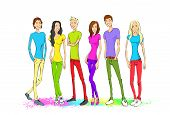 Group of young people, colorful clothes man and woman standing full length together isolated on whit