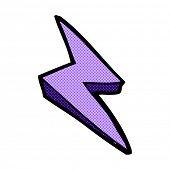 retro comic book style cartoon lightning bolt symbol