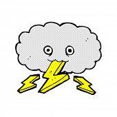 retro comic book style cartoon thundercloud