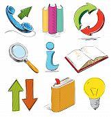 Stationery, communication, business icons.
