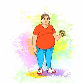 Fat overweight man eat burger, junk fast food, concept of unhealthy diet over colorful splash paint