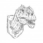 vector - contour trophy head dinosaur isolated on background
