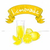 lemonade banner text sign with glass and yellow lemon isolated