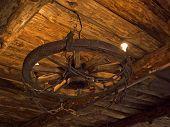 Chandelier wooden wheel