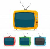 image of tv sets  - Vector illustration color retro tv set isolated on white background - JPG