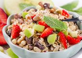 Healthy Muesli And Fresh Berries For Breakfast.