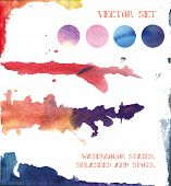 Vector Set: Watercolor Stains, Splashes And Spots. Elements For Design