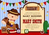 stock photo of cowboys  - an invitation card with cowboy theme kids - JPG