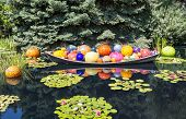 Bright Colored Glass Balls In Boat