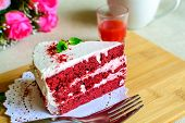 pic of red velvet cake  - Close up of Red velvet cake and coffee on table