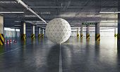 geometrical sphere in the parking. 3d creative concept