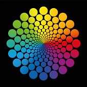 picture of infinity  - Colorful flower graphic out of geometrically arranged rainbow gradient circles that nearly approach infinity towards the center - JPG
