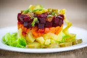 Salad Of Boiled Vegetables With Beetroot