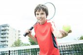 boy tennis player learning how to preparing to play tennis