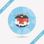 image of cream puff  - Cream Puffs Flat Icon With Long Shadow - JPG