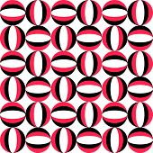 Seamless Circle Pattern. Abstract Black and Red Background. Vector Regular Texture