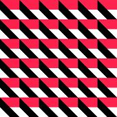 Seamless Grid Pattern. Vector Black and Red Background. Regular Texture