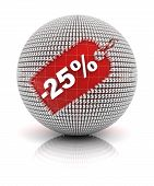 25 percent off sale tag on a sphere