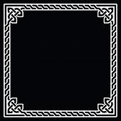 Celtic frame, border white pattern on black