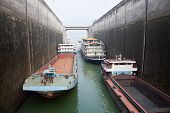 Ships rising in the lock at Three Gorges Dam