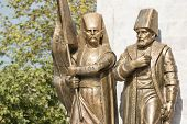 stock photo of ottoman  - Statues Of An Ottoman Pasha And Janissary - JPG