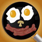 Happy Breakfast Face In Frying Pan.