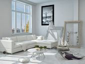 3D Rendering of Modern Architectural Design of Decorated Living Room with White Elegant Furniture.