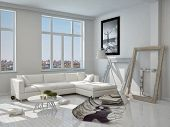 3D Rendering of Elegant Modern Architectural White Living Room Design with White Furniture and Glass Windows.