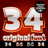 Vector set of original glossy white alphabet with gold border. Numbers 3 4