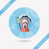 stock photo of reaper  - Grim Reaper Flat Icon With Long Shadow - JPG