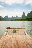 foto of raft  - Bamboo rafting li river from guilin to yangshuo china - JPG