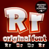 Vector set of original glossy white alphabet with gold border. Letter R