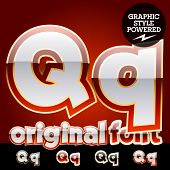 Vector set of original glossy white alphabet with gold border. Letter Q