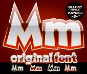 Vector set of original glossy white alphabet with gold border. Letter M