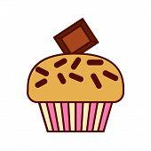 Cupcake delicious modern flat vector