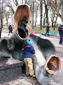 Thrown Big Bronze Monument To Lenin In Chernihiv In February 22, 2014