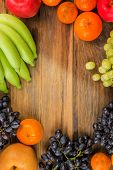Studio Shot Of Healthy Eating ,different Fruits On Old Wooden Table