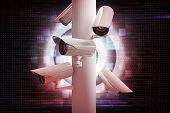 CCTV camera against digital target over computing design