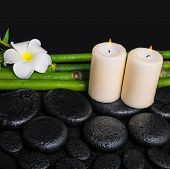 Spa Concept Of Zen Basalt Stones, White Flower Frangipani, Candles And Natural Bamboo With Dew, Clos
