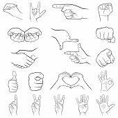 Hand Gestures Set, White Background